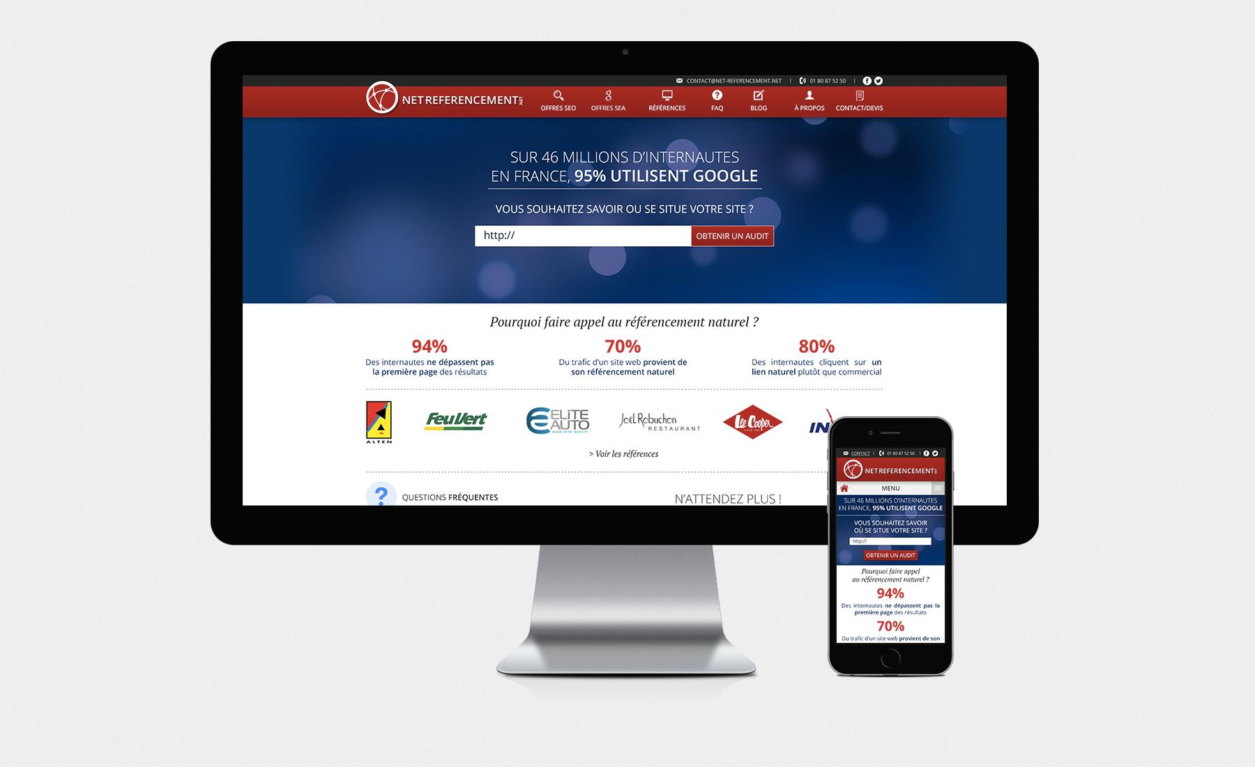 exemple d'un site internet classique et de sa version en responsive design