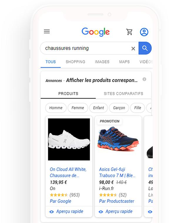 résultats google shopping page de recherche google