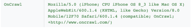user-agent oncrawl