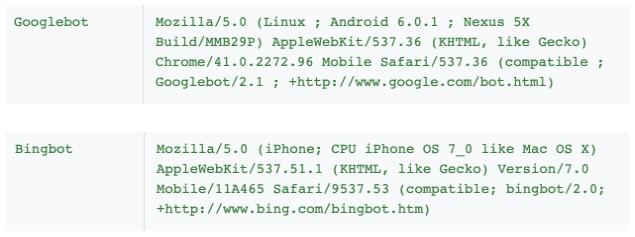 user-agent googlebot et bingbot